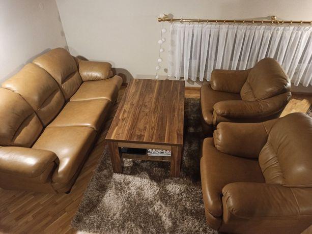 kanapa sofa + dwa fotele 3+1+1 skóra z funkcją spania SARA Meble Pyka