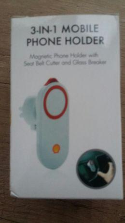 Magnetyczny uchwyt na telefon z przecinakiem do pasów i młotkiem