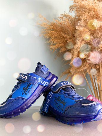 Кроссовки на мальчика спортивная обувь кеды с подсветкой для мальчиков