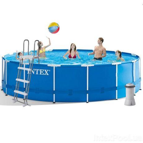 Каркасный бассейн басейн Intex 457x122 см (3 785 л/ч, лестница, тент)