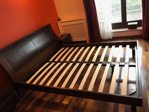 Łóżko 1,6x2,0 (ciemny dąb), komoda z lustrem i dwie szafki nocne