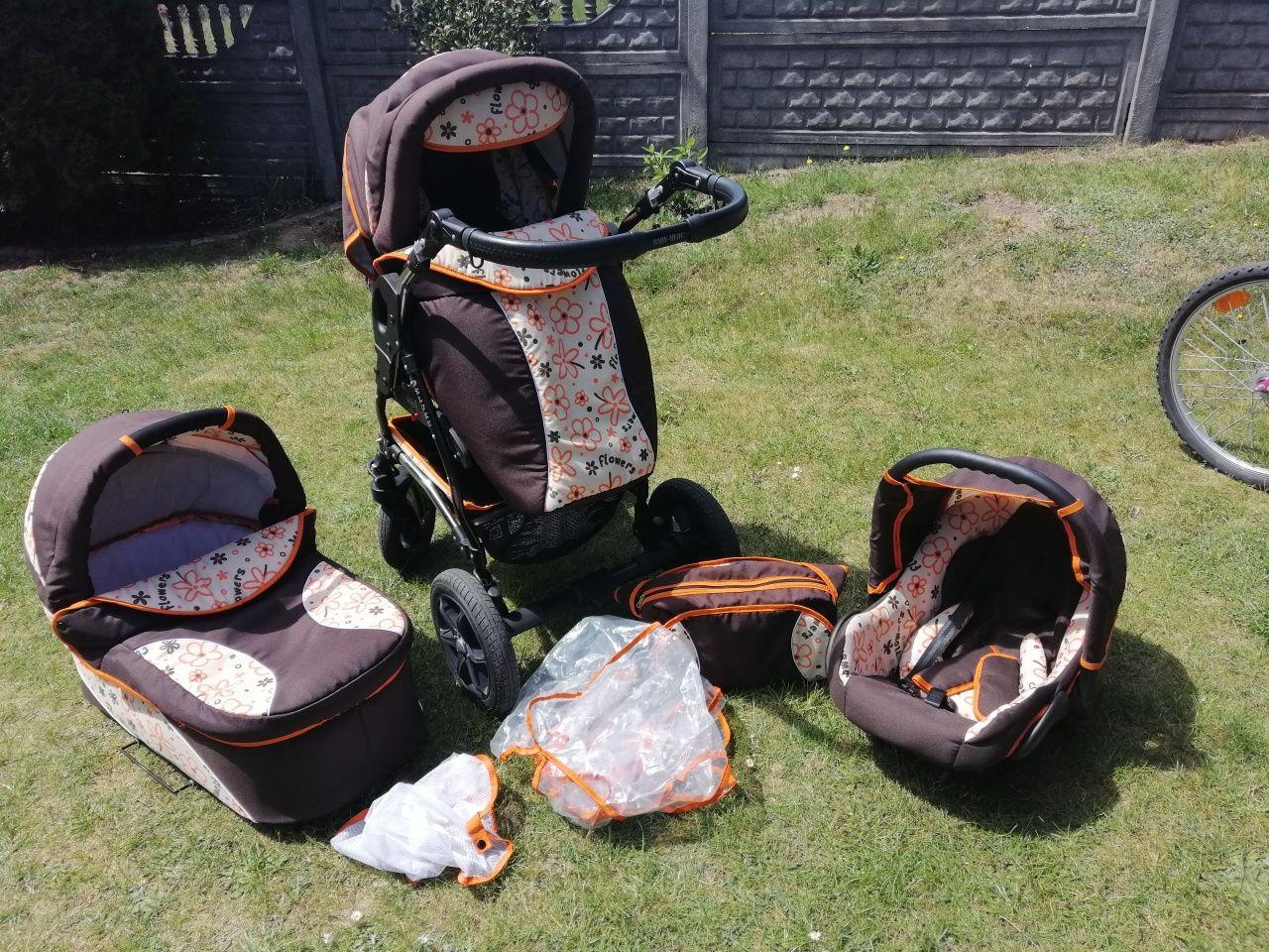 Wózek 3 w 1 baby merc, spacerówka, gondola, fotelik