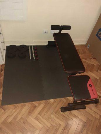 BANCO DE MUSCULAÇÃO 500 DOMYOS /  Conjunto musculação 20 kg