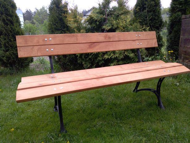 Ławka, meble ogrodowe na żeliwnych nogach, drewno - olcha