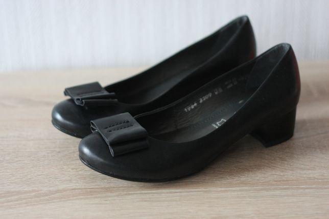 Czarne skórzane eleganckie półbuty 36 NOWE