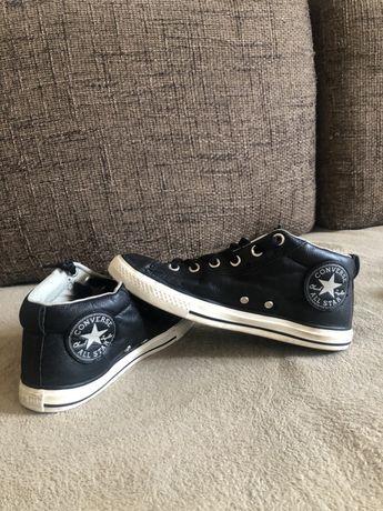 Oryginalne trampki converse all star 38 skórzane czarne za kostke biał