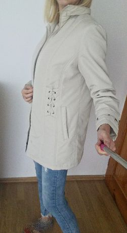 jasny kremowy płaszcz płaszczyk kurtka xl 42 jesienna zimowa