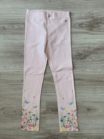 H&M spodnie rurki jogerry jasny pudrowy róż motyw łąki roz 140 nowe