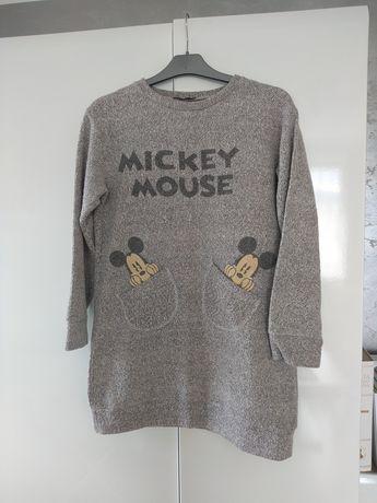 Bluza damska tunika sukienka szara Mickey Mouse