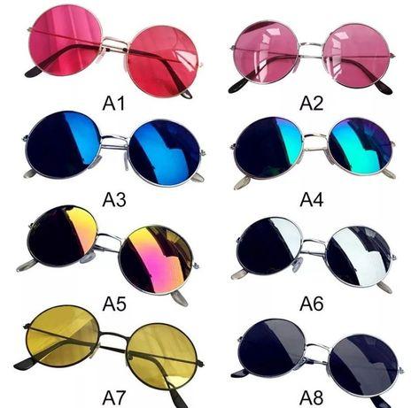 Очки солнцезащитные черные зеркальные круглые