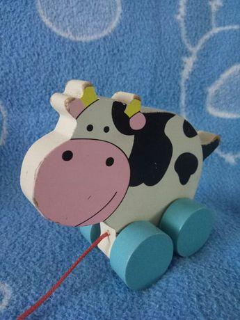 Корова кубика cubica деревянная на верёвке нитке