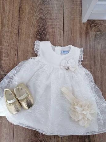 Sukienka, zestaw, komplet do chrztu rozmiar 74 cm