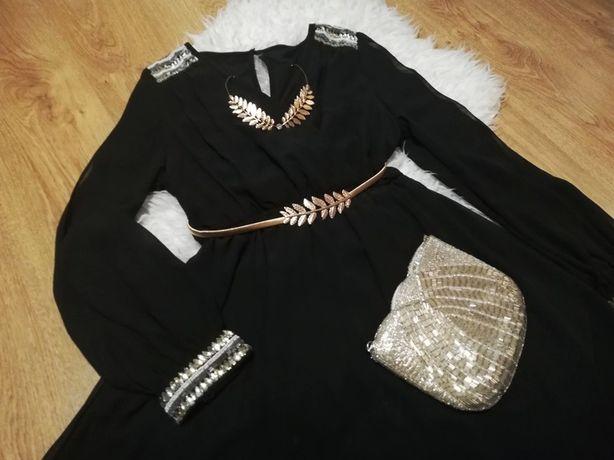 czarna szyfonowa, zwiewna sukienka asos sesja greczynka zara