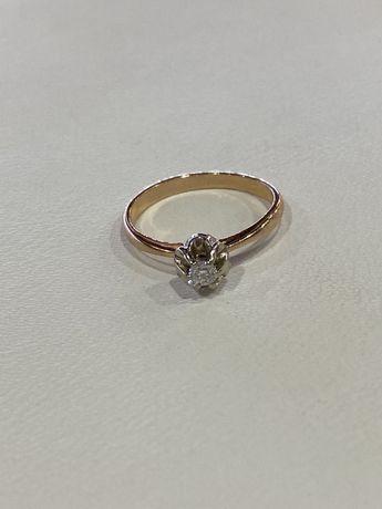 Золотое кольцо бриллиант КЮЗ