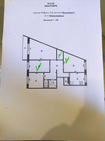 Половина 4-ох комнатной квартиры, 3-комнаты