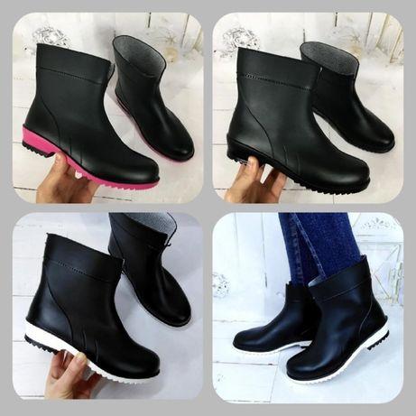 Женские резиновые ботинки, сапоги. Три цвета