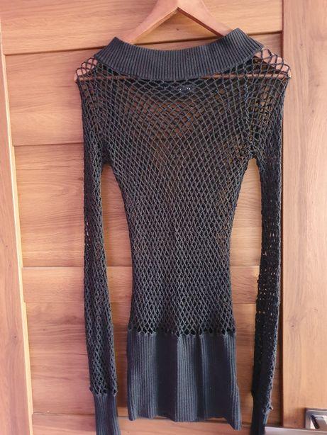 Czarna,ażurowa,szydełkowa sukienka,tunika,bluzka festiwalowa coachella