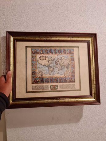 Quadro - Antigo Mapa Mundo