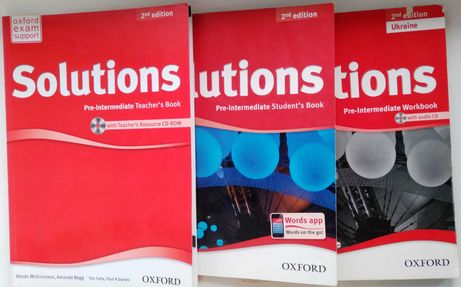 Solutions Pre-Intermediate 2nd Workbook + Student's + Teacher's book