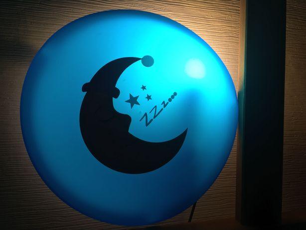 Lampka nocna niebieska ścienna z naklejka księżyc dla dziecka / dzieci
