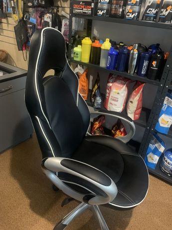 DELUXE halmar - fotel gabinetowy czarno-biały -skóra
