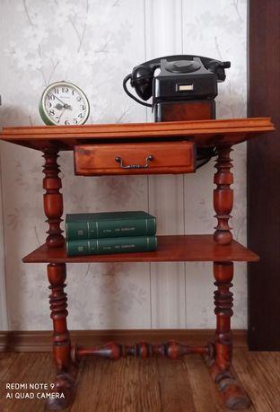 Drewniany stolik (konsola) pod telefon PRL