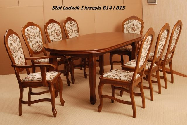 Stół drewniany Ludwik + 6 krzeseł B14+ 2 krzesła B15 od Lemag