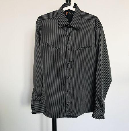 Чоловіча сорочка чорна нарядная мужская рубашка черная в полоску S