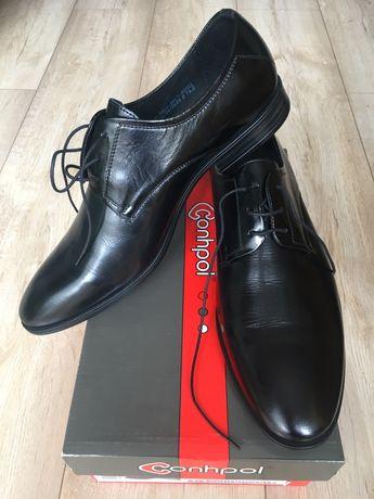 Buty skórzane eleganckie czarne firma Conhpol