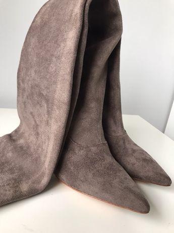 Sergio Rossi wysokie kozaki muszkieterki za kolano beżowe nude 37