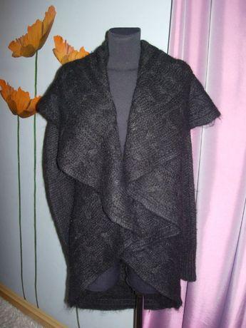 Czarny wełniany sweter czysta wełna narzutka NOWY