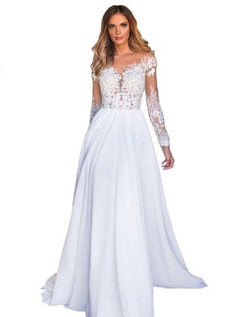 suknia ślubna cywilny linia-A rękawy 34 XS, 44 XXL, 46 XXXL