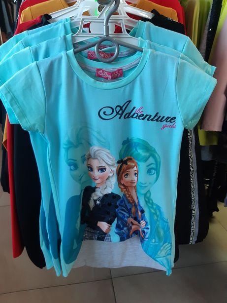 Bluzki koszulki dziewczęce kraina lodu dużo rozmiarów
