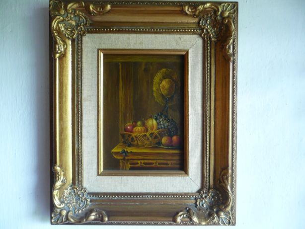Obraz olejny na desce zdobiona podwójna rama owoce kapelusz