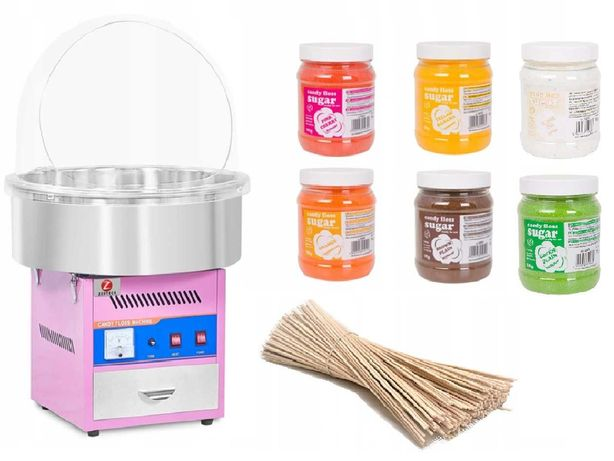 Maszyna do waty cukrowej XL ZESTAW Z POKRYWĄ patyczkami i cukrem