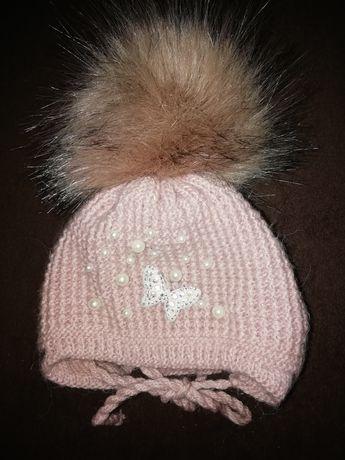 Зимня шапка на дівчинку від народження до 4 місяців