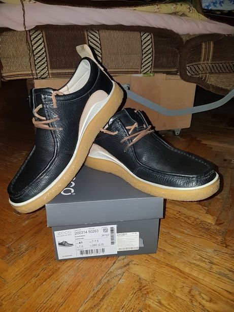Оригинал Кожаные ботинки туфли мокасины ECCO Crepetray 42 р.