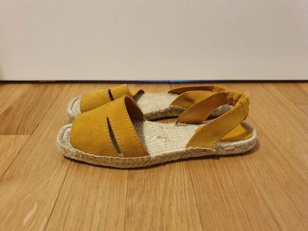 sandały sandałki Mango stan idealny żółty słoma słomkowe musztardowe