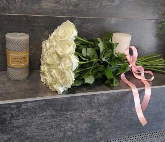 Букет цветов - 15 белых роз, доставка, розы, цветы Днепр