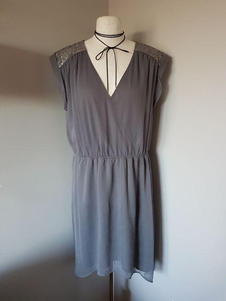 Śliczna szara sukienka XL