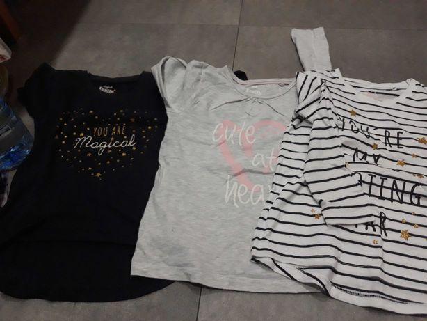 3 bluzeczki 116 dla dziewczynki