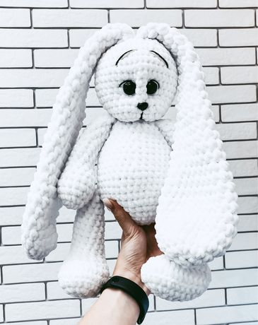 Плюшевый заяц ручная работа вязанные игрушки