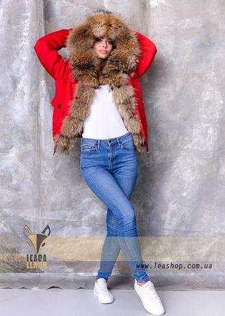Бомбер парка куртка зимняя с натуральным мехом енота