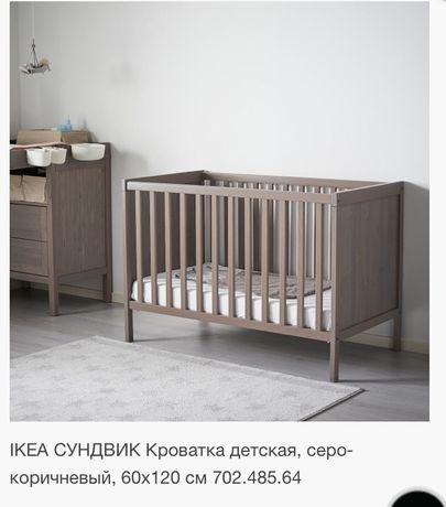 IKEA СУНДВИК Кроватка детская, серо-коричневый, 60x120 см