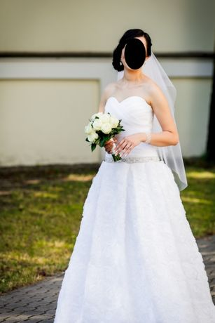 Suknia ślubna r. 40 dla wysokiej dziewczyny dół róże