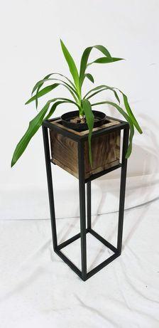 Kwietnik LOFT metalowy z drewnianą donicą 60cm
