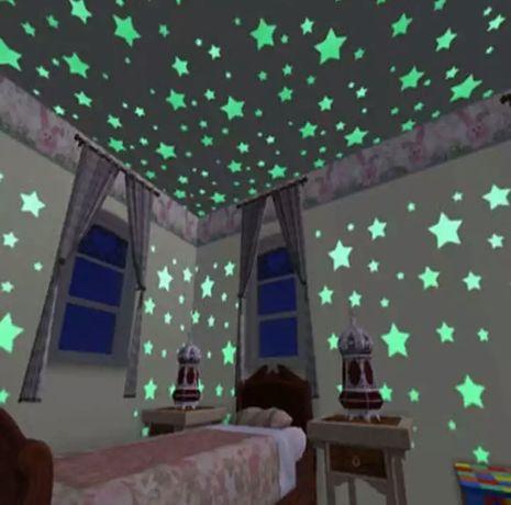 Звезды на потолок. 100 шт. Светящиеся звезды.