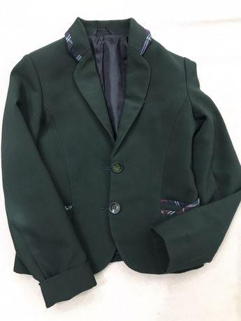 Пиджак школьный зеленый на девочку, рост 128