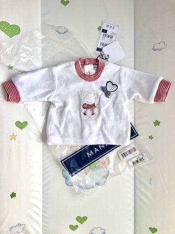 Новая велюровая кофточка распашонка на новорожденную девочку белая 0-3