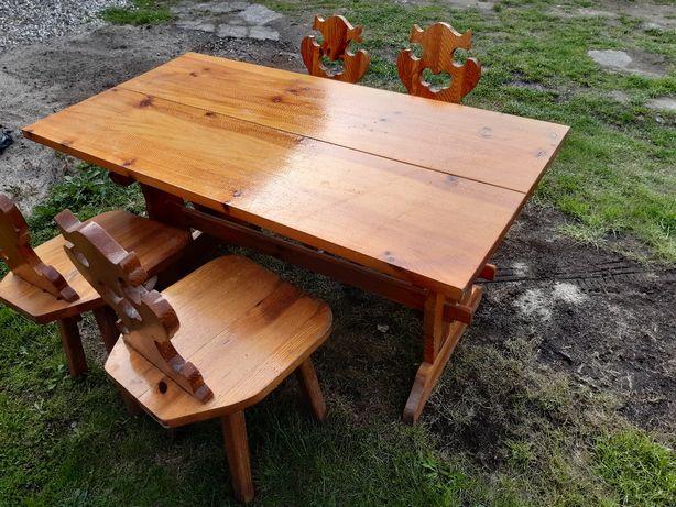 Stół 4 krzesła drewniane stare antyki